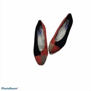 Dr. Scholl's suede color block wedge shoes